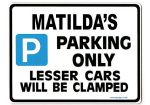 MATILDA'S Personalised Parking Sign Gift | Unique Car Present for Her |  Size Large - Metal faced